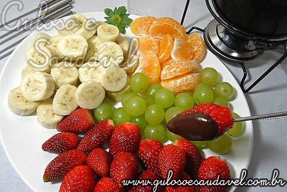 Receita de Fondue de Chocolate Light com Frutas
